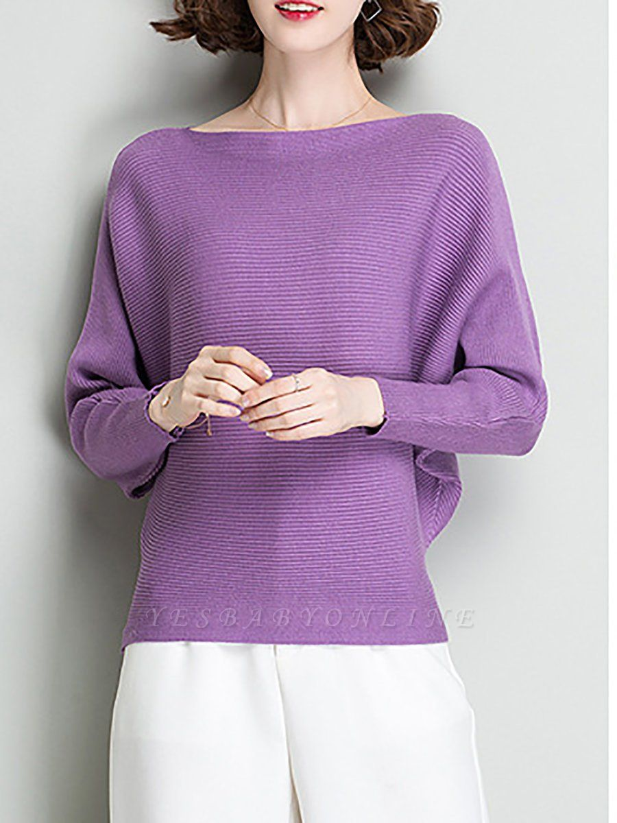 Shift Solid Batwing Bateau/boat neck Casual Sweater