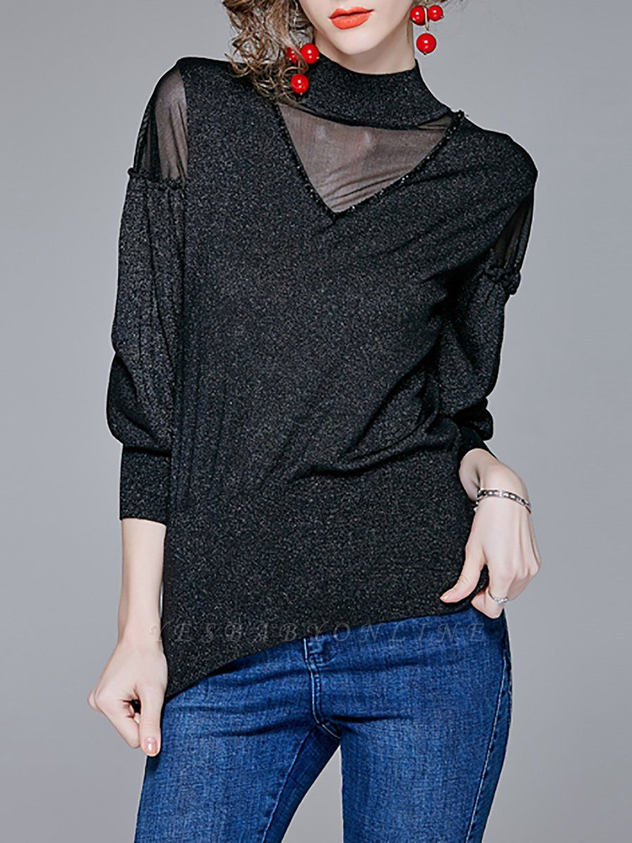 Long Sleeve Shift Stand Collar Casual Paneled Sweater