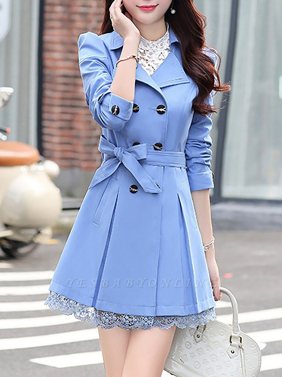 3/4 Sleeve Lapel Shift Casual  Coat