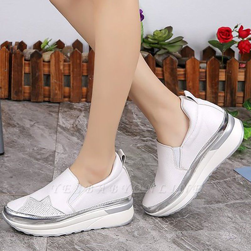 Daily Round Toe Wedge Heel PU Loafers