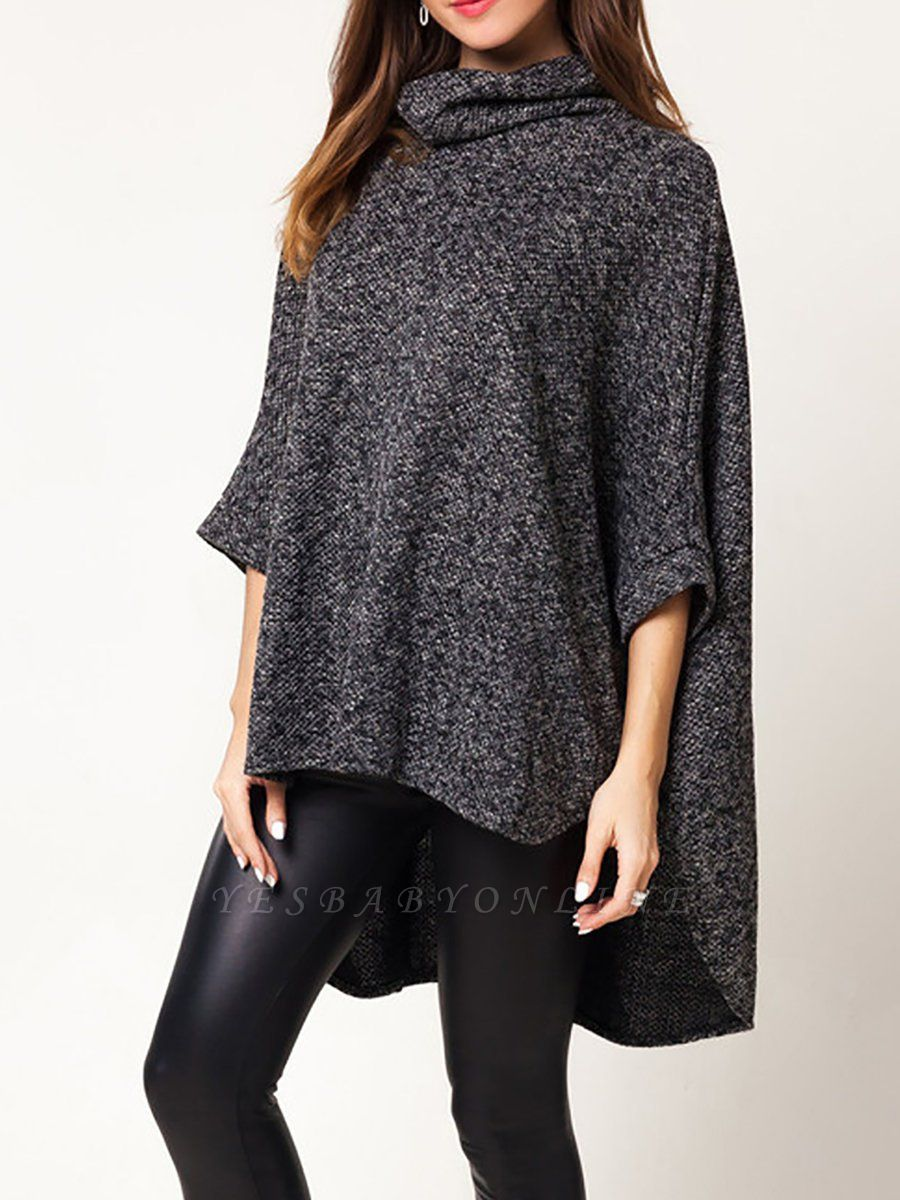 Batwing Cotton Shift Solid Casual Sweater