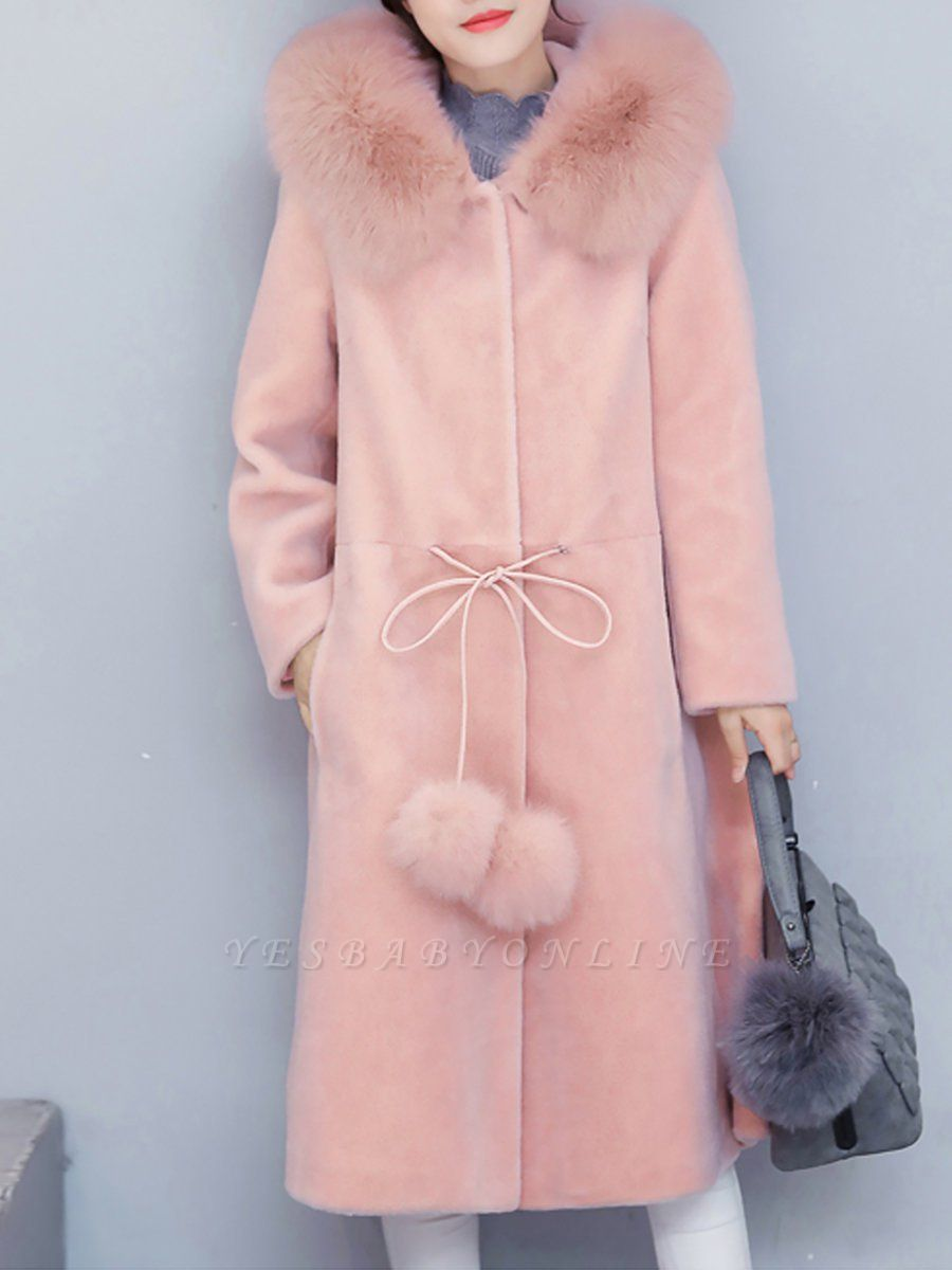 Buttoned Hoodie Fluffy Pockets  Paneled Coat