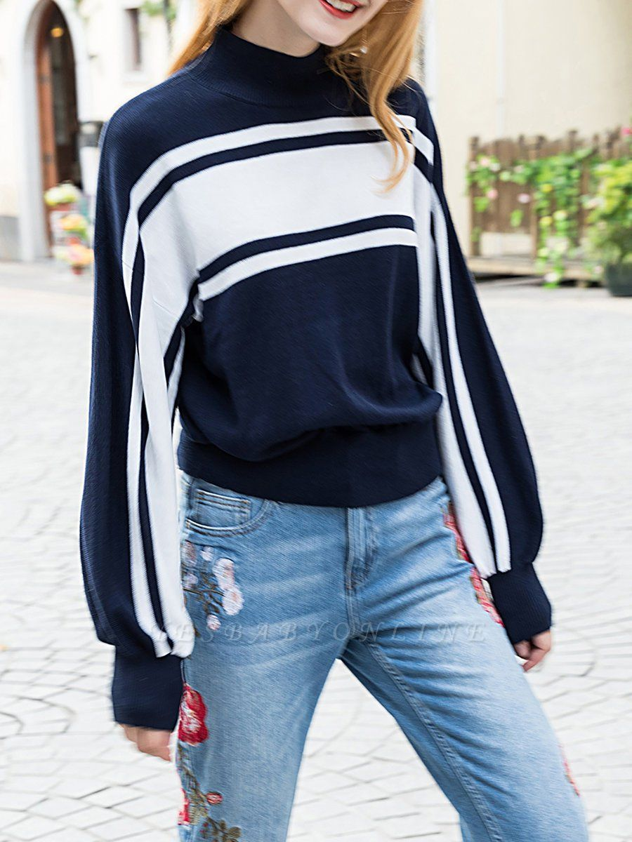 Royal blue Solid Balloon Sleeve Sweater