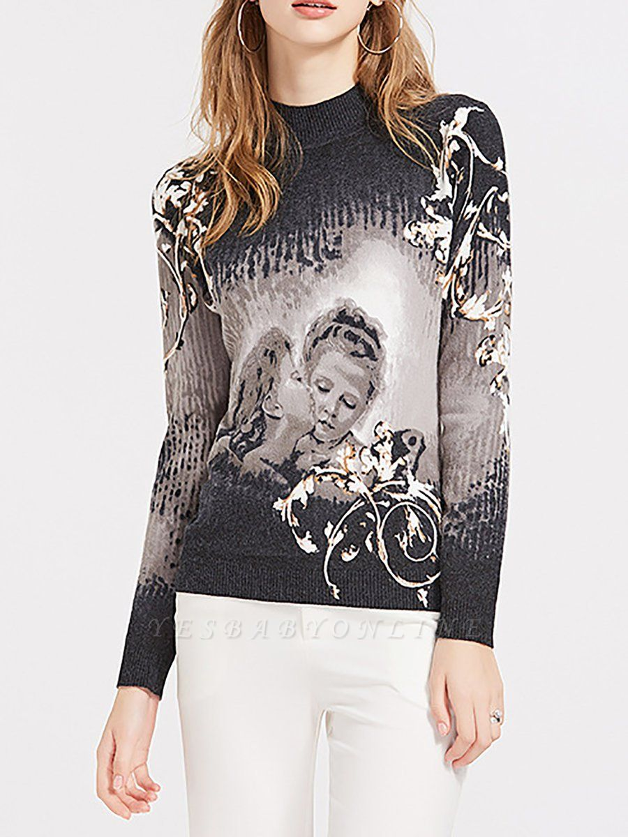 Black Casual Printed Long Sleeve Sweater