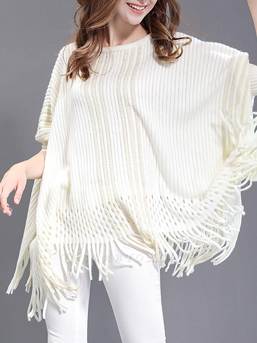 Shift Wool Batwing Casual Geometric Sweater