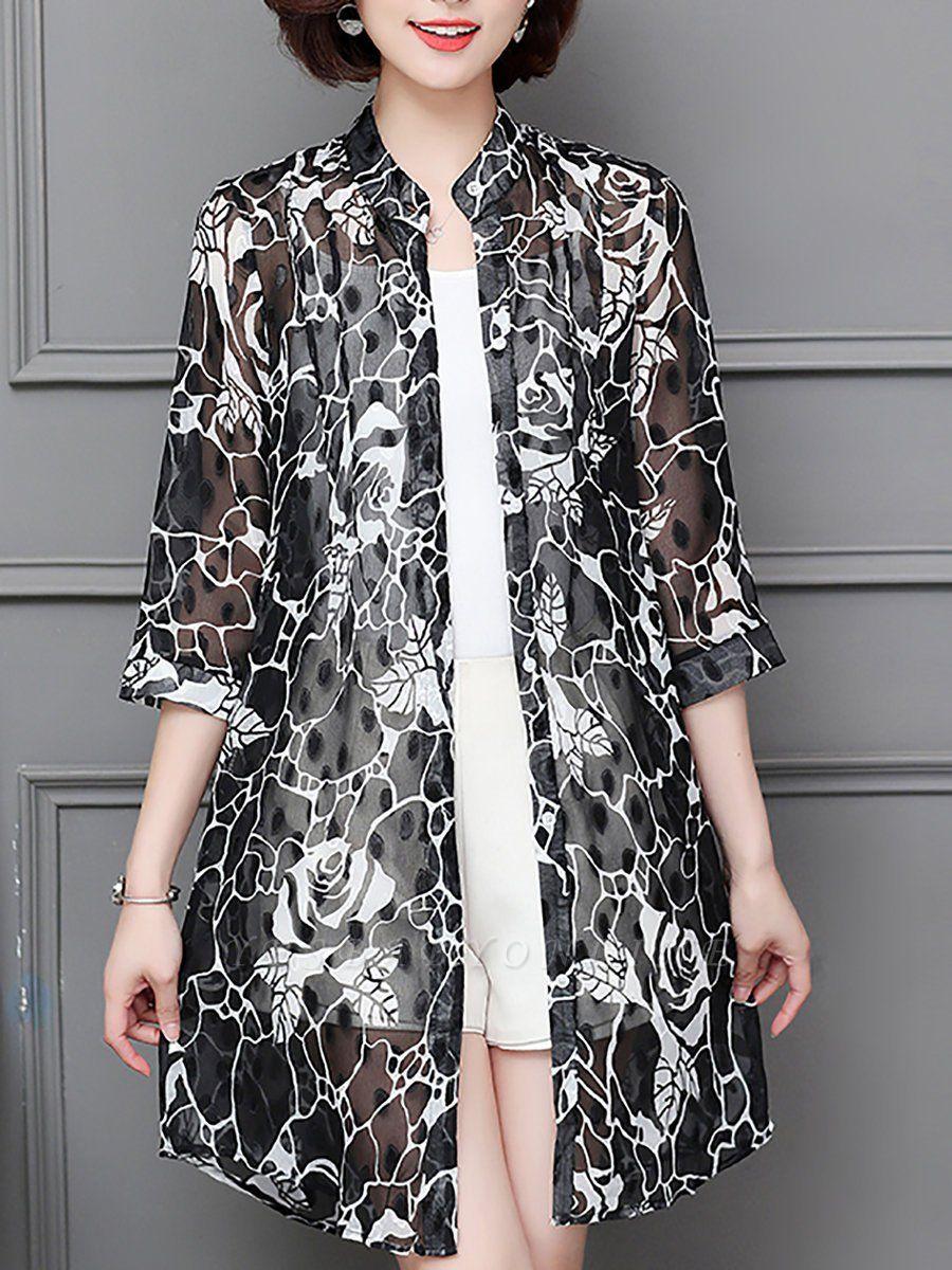 3/4 Sleeve Casual Chiffon Abstract See-through Look Printed Coat