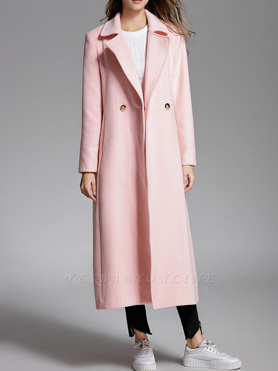 Pink Pockets Work Buttoned Lapel Shift Coat