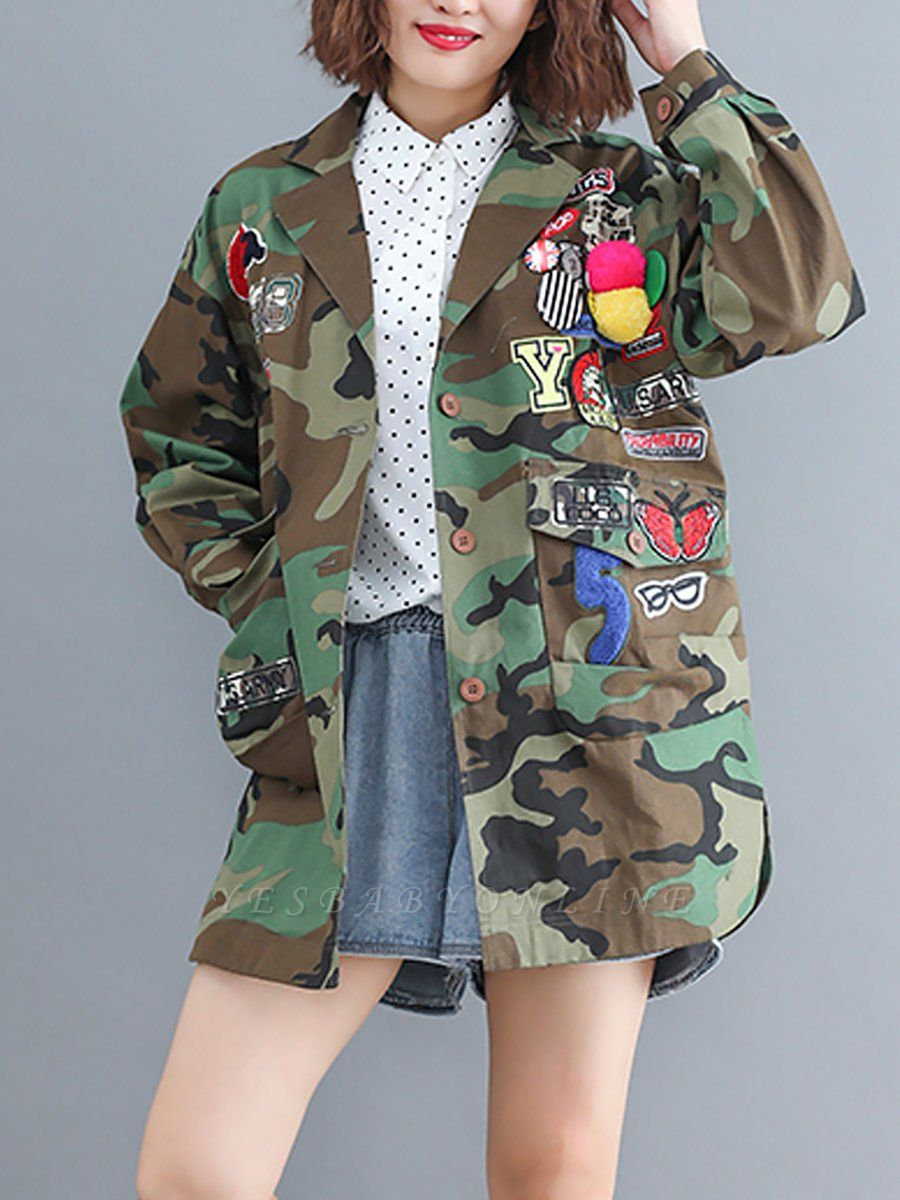 Green Paneled Shift Pockets Buttoned Patch Printed Color-block Coat