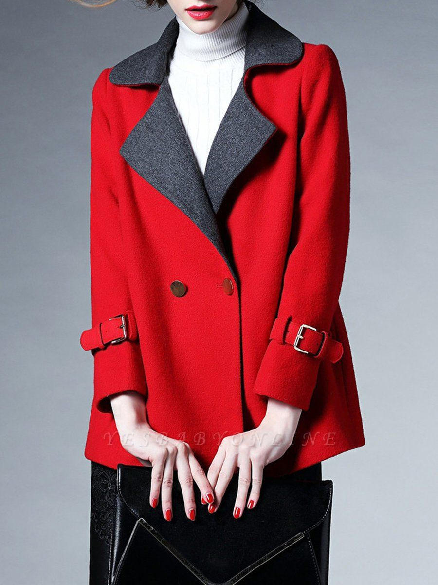Red Shawl Collar Solid Long Sleeve Casual Coat