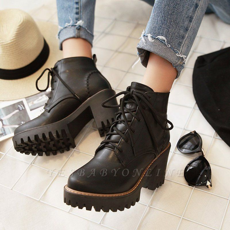 PU Lace-up Daily Round Toe Chunky Heel Boot