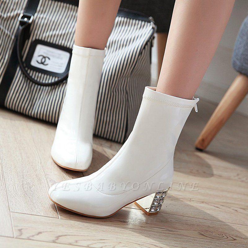 Chunky Heel Zipper Elegant Square Toe Boots