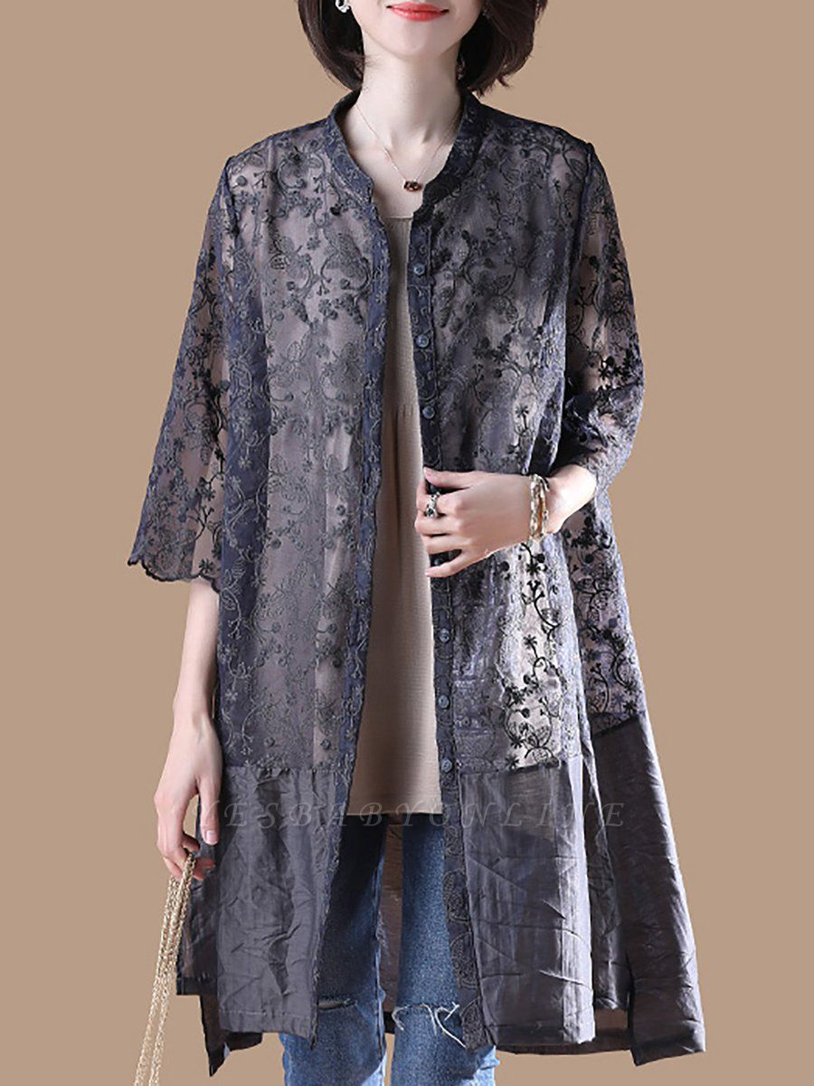 Gray Crew Neck Half Sleeve Guipure lace Paneled Coat
