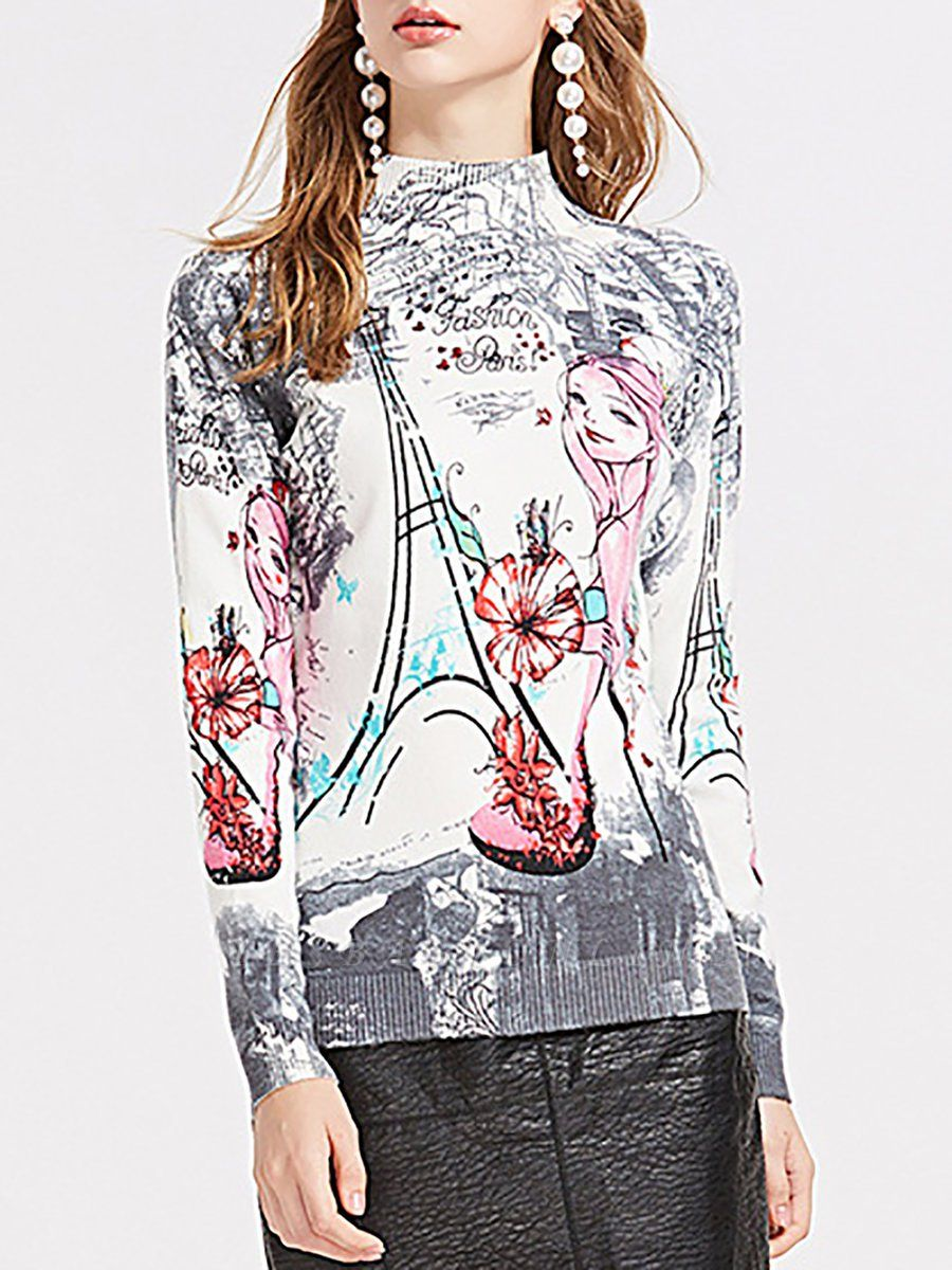 Gray Printed Graphic Long Sleeve Sweater