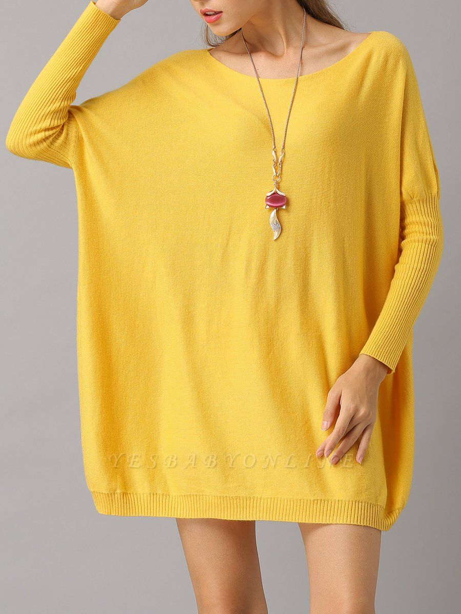 Shift Paneled Solid Casual Long Sleeve Sweater