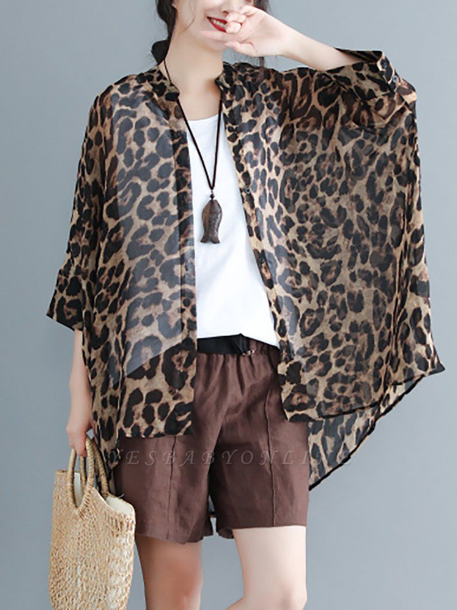 As Picture Casual Shift Printed Half Sleeve Coat