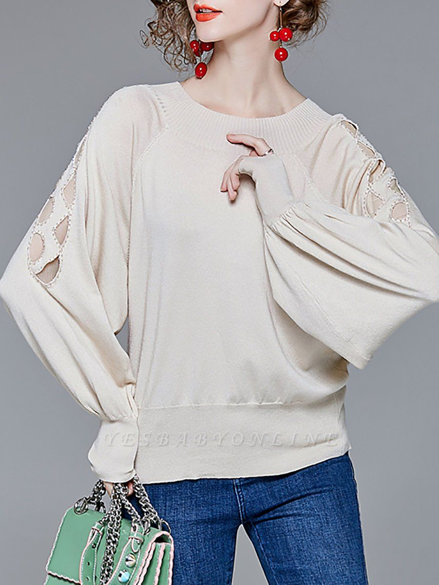 Crew Neck Batwing Casual Sweater