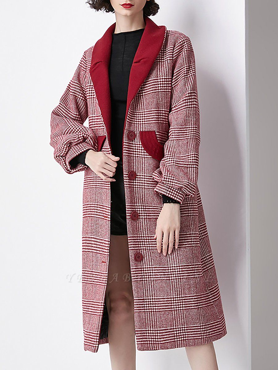 Burgundy Balloon Sleeve Buttoned Houndstooth Coat