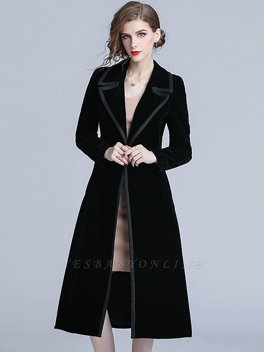 Black Lapel Paneled Buttoned Pockets Velvet Coat