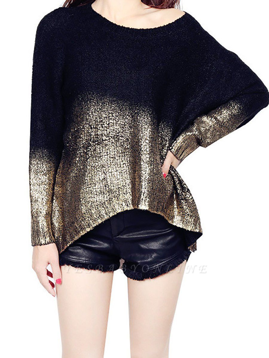 Shimmer Crew Neck Casual Long Sleeve Solid Sweater