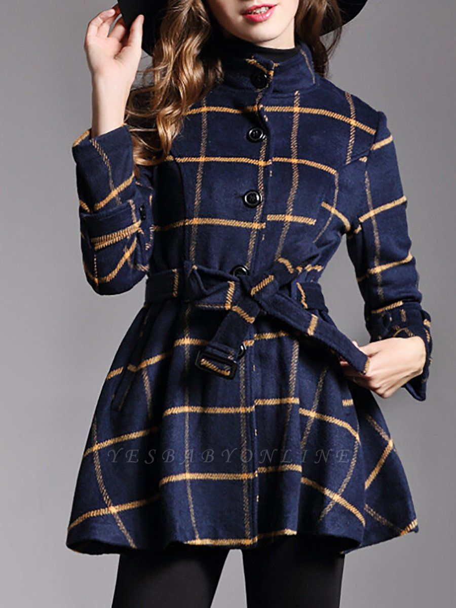 Navy Blue Bow Casual Stand Collar Checkered/Plaid Coat