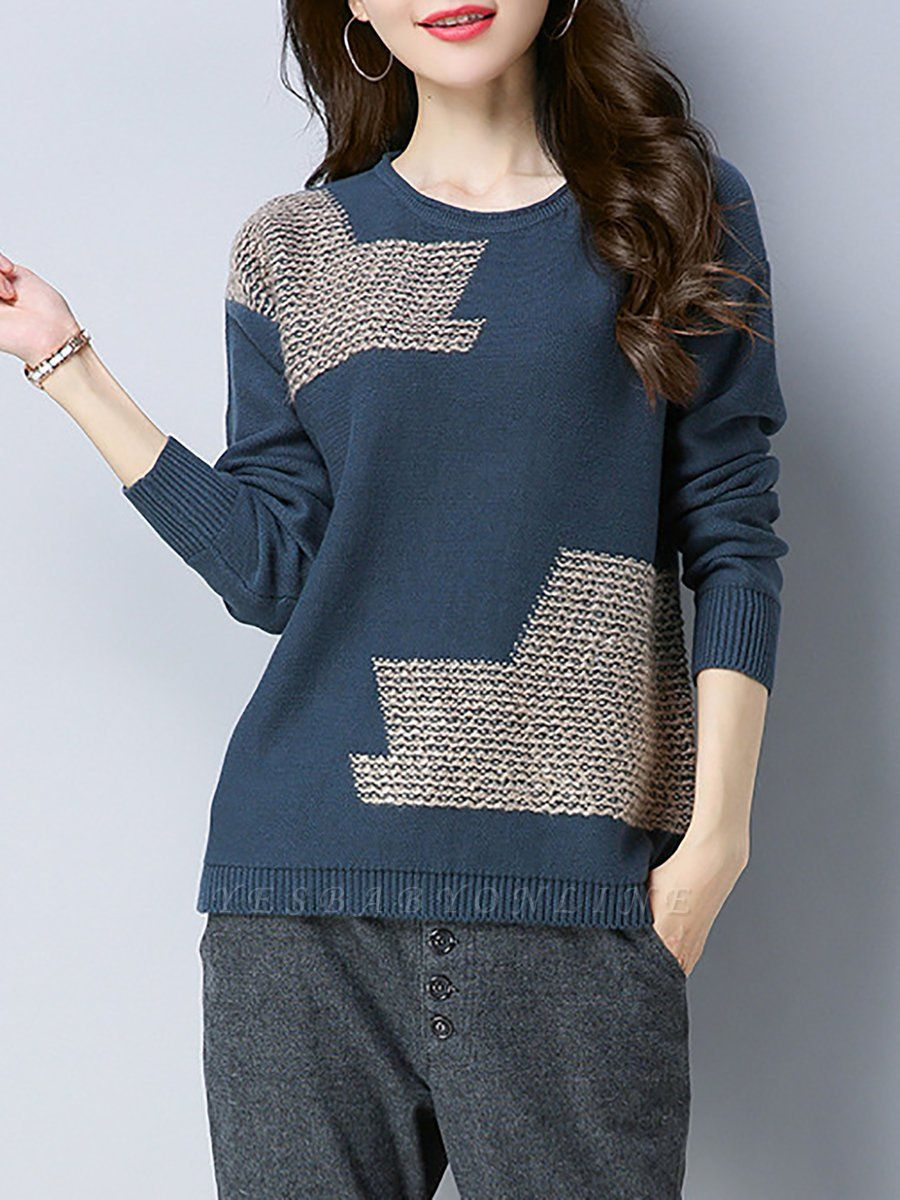 Crew Neck Casual Long Sleeve Sweater
