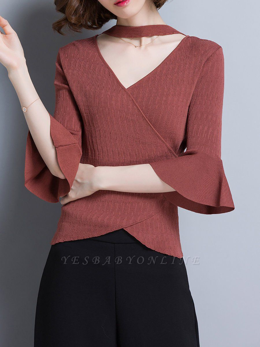 Shift Casual Solid Frill Sleeve Knitted Sweater