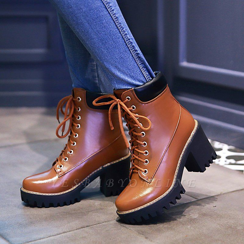 Daily Lace-up PU Round Toe Chunky Heel Boots