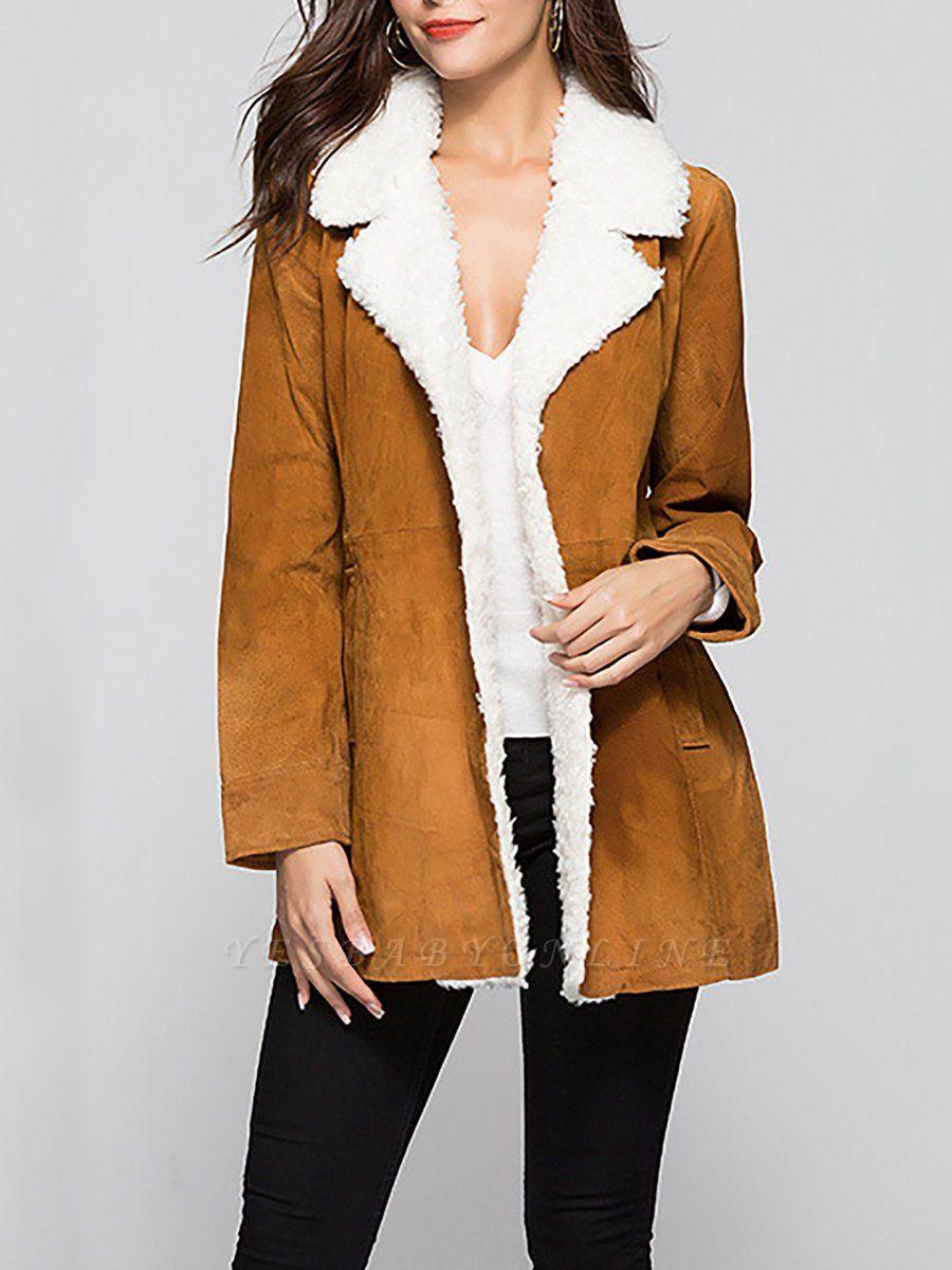 Pockets Casual Solid Long Sleeve Coat