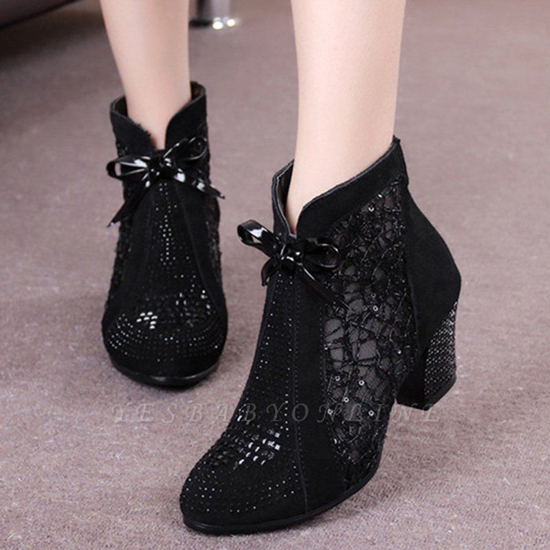 Black Winter Beading Chunky Heel Casual Lace Boot