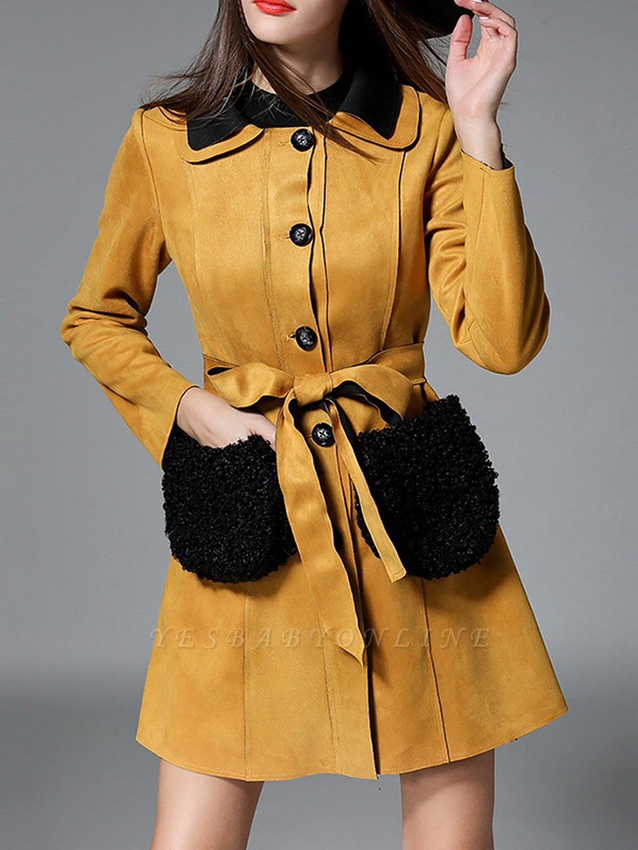 Yellow Casual Solid Shift Long Sleeve Coat