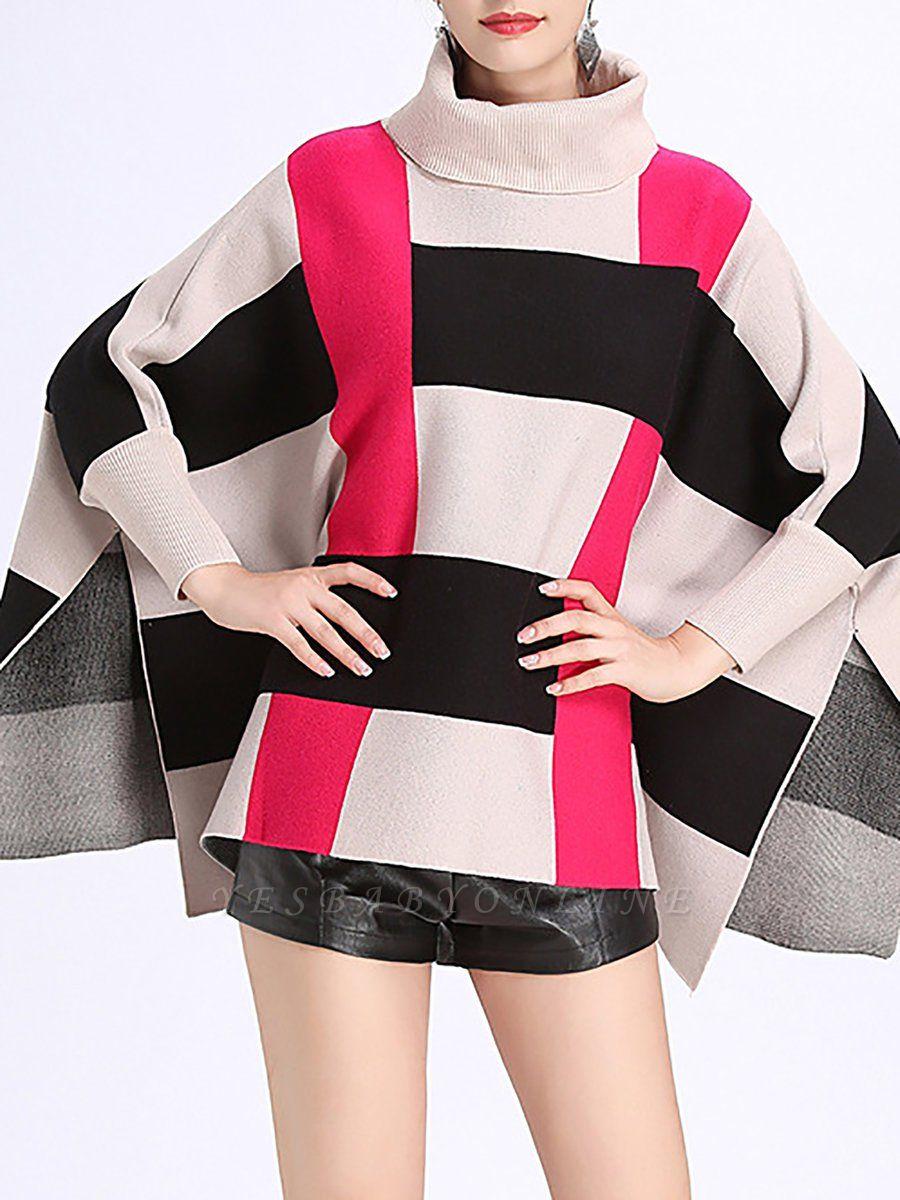 Elegant Shift Batwing Color-block Sweater