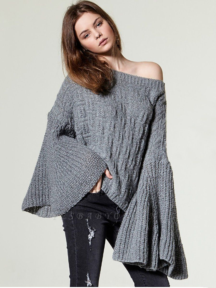Knitted Shift Frill Sleeve Solid Casual Sweater