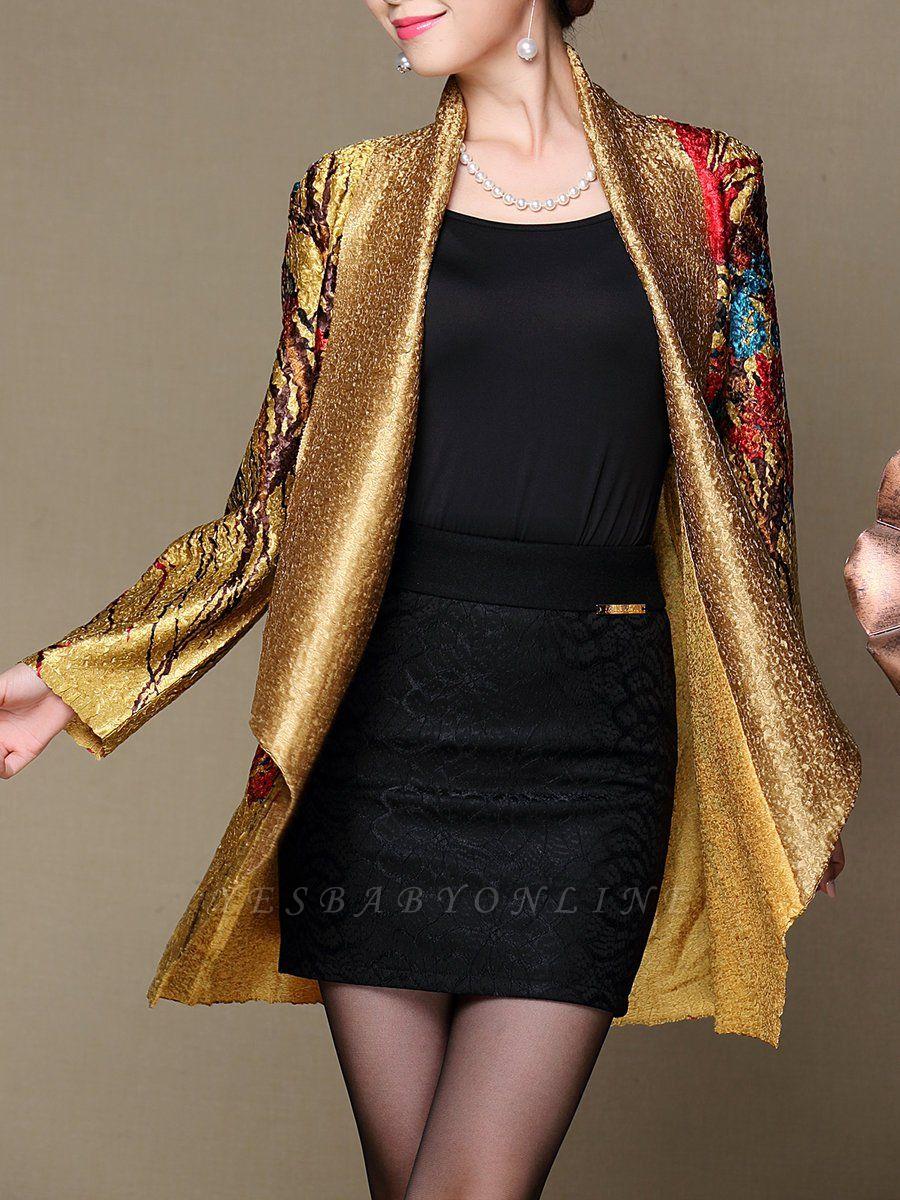 Asymmetrical Long Sleeve Shawl Collar Casual Crinkled Printed Coat
