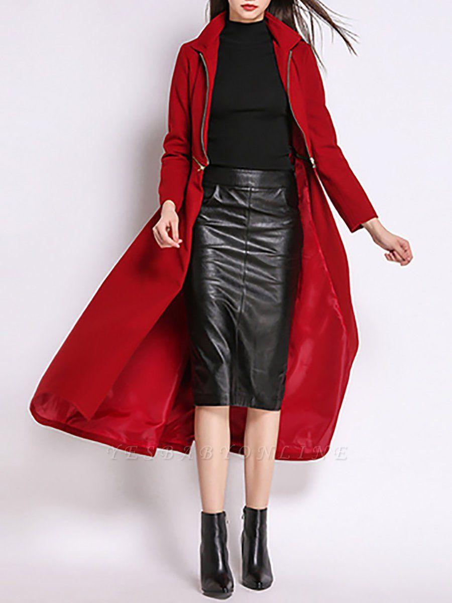Stand Collar A-line Paneled Long Sleeve Casual Zipper Coat
