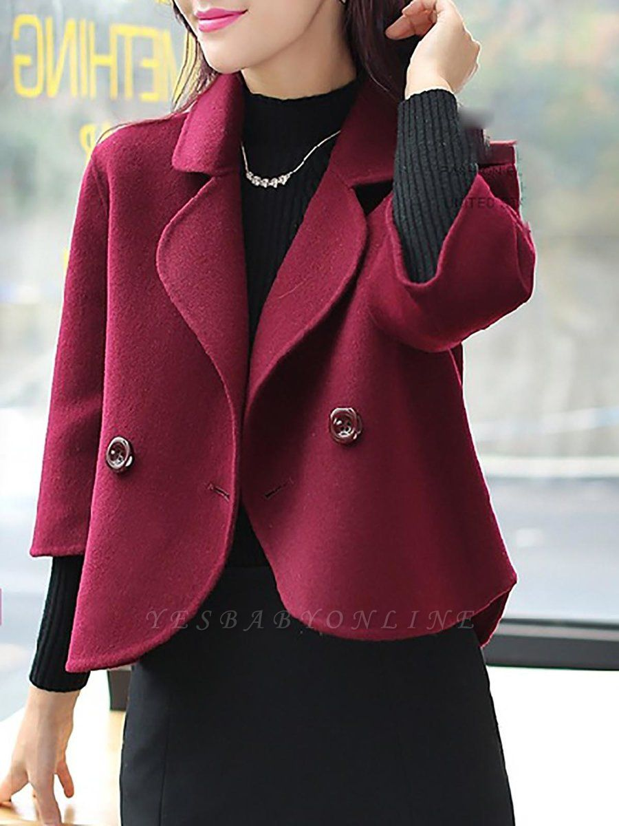 Work 3/4 Sleeve Shift Shawl Collar Buttoned Coat