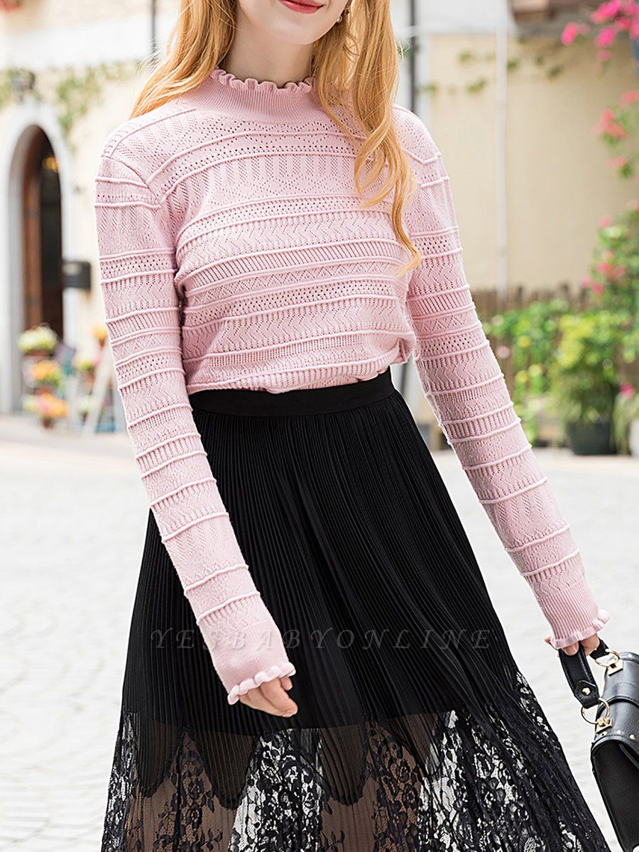 Pink Shift Balloon Sleeve Stand Collar Sweater