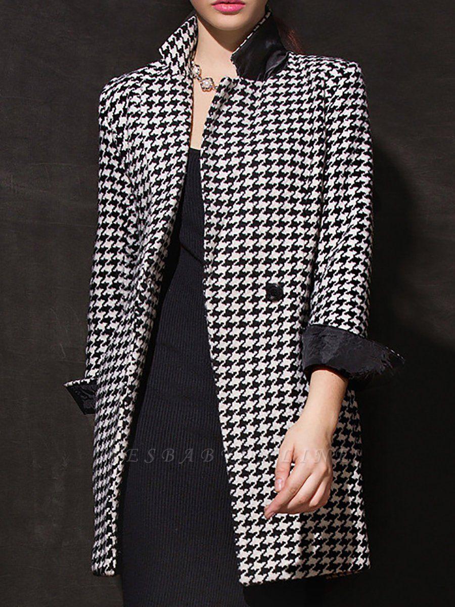 Black Casual Shift Printed Coat