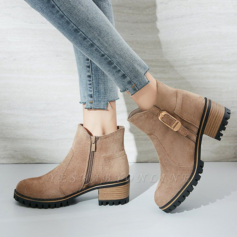 Buckle Chunky Heel Daily Round Toe Zipper Boots