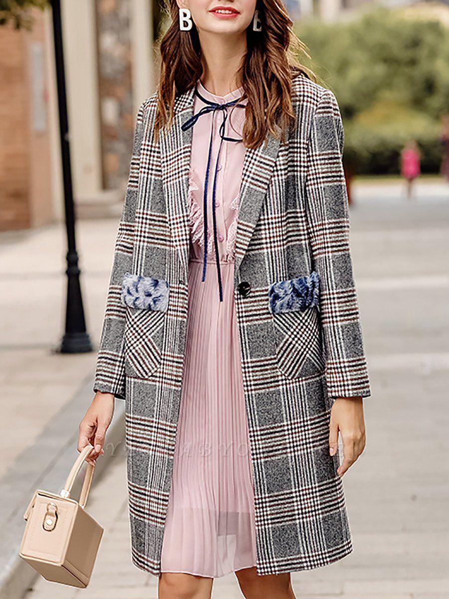 Gray Checkered/Plaid Long Sleeve Pockets Coat