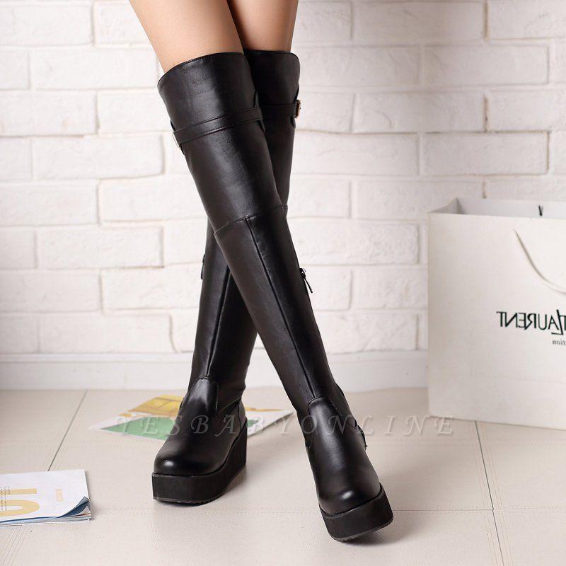 Women's Boots Wedge Heel Black Round Toe Boots