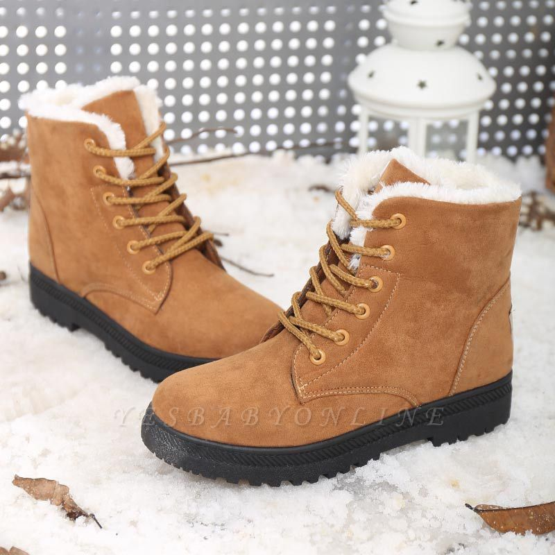 Daily Lace-up Round Toe Elegant Boots
