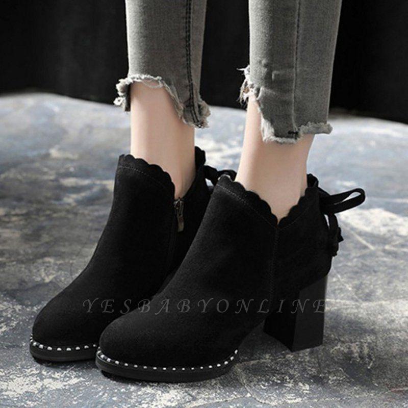 Suede Bowknot Zipper Boots
