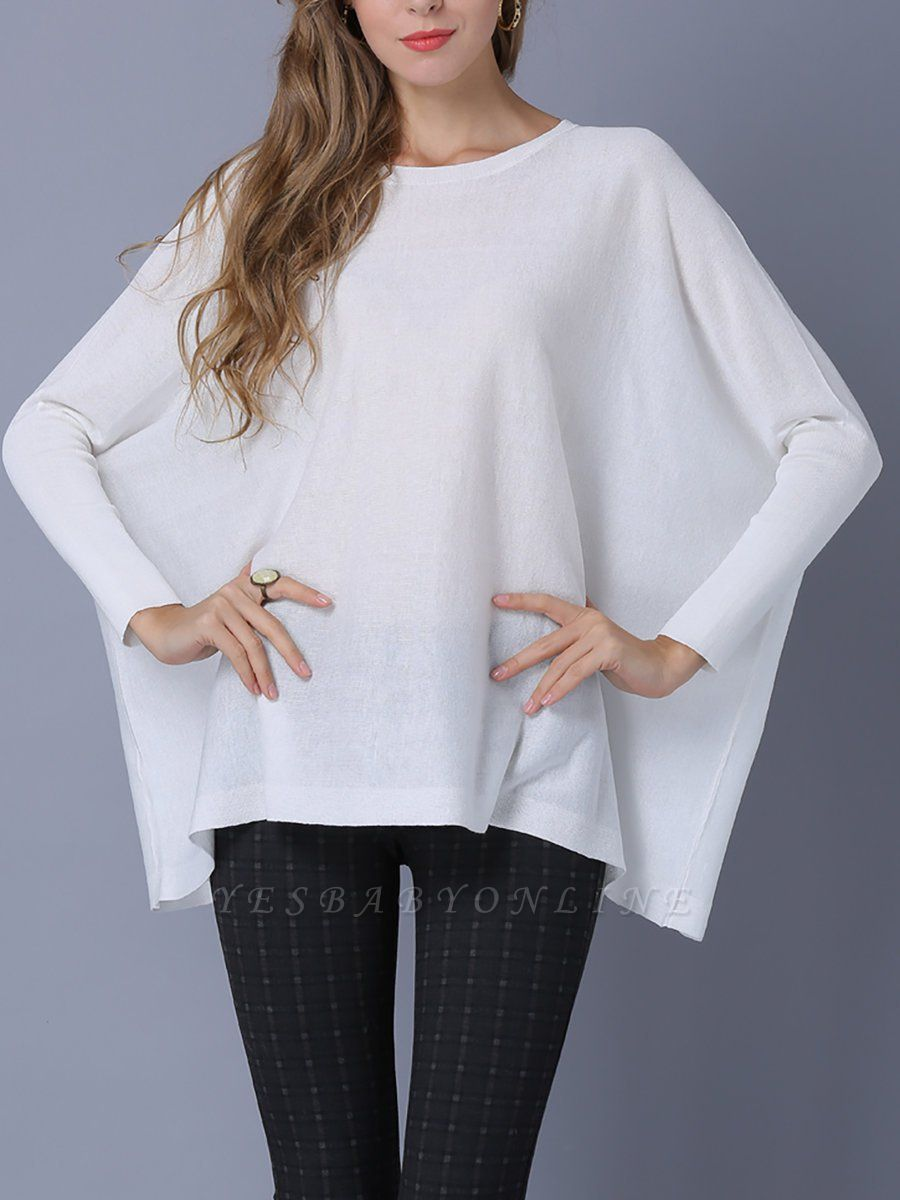 Solid Batwing Casual Knitted Crew Neck Sweater