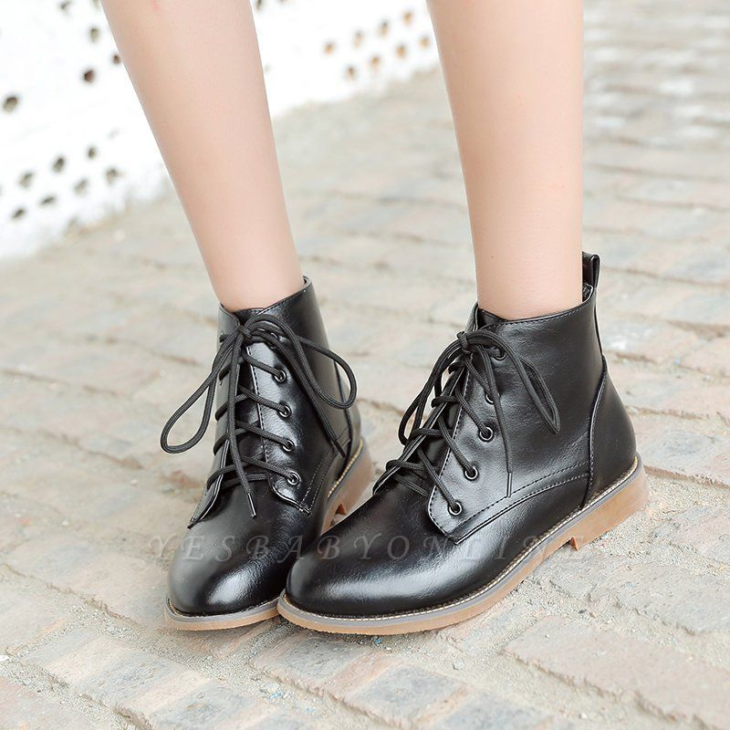 Low Heel Lace-Up Pointed Toe Boots