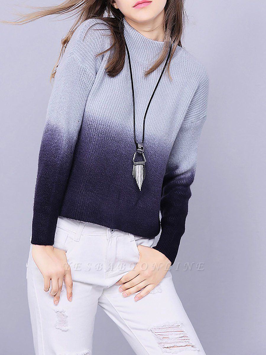 Blue Shift Knitted Casual Crew Neck Long Sleeve Knit Top