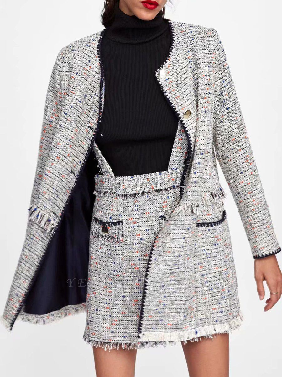 Gray Paneled Casual Crew Neck Buttoned Pockets Coat