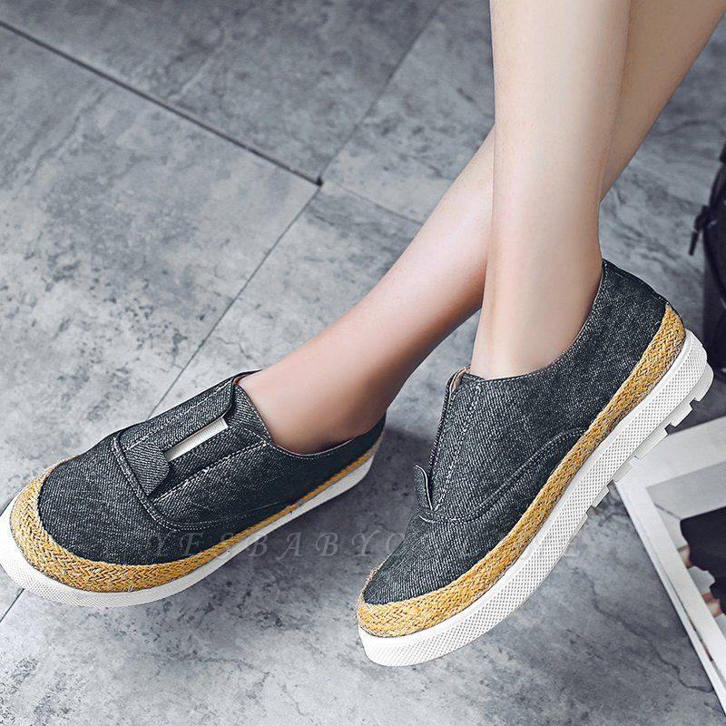 Summer Casual Round Toe Denim Wedge Loafers