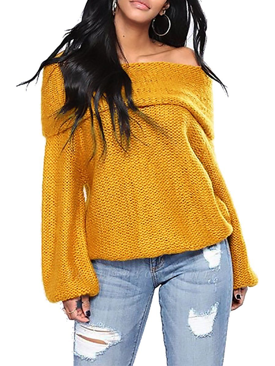 Casual Off Shoulder Solid Knitted Balloon Sleeve Sweater