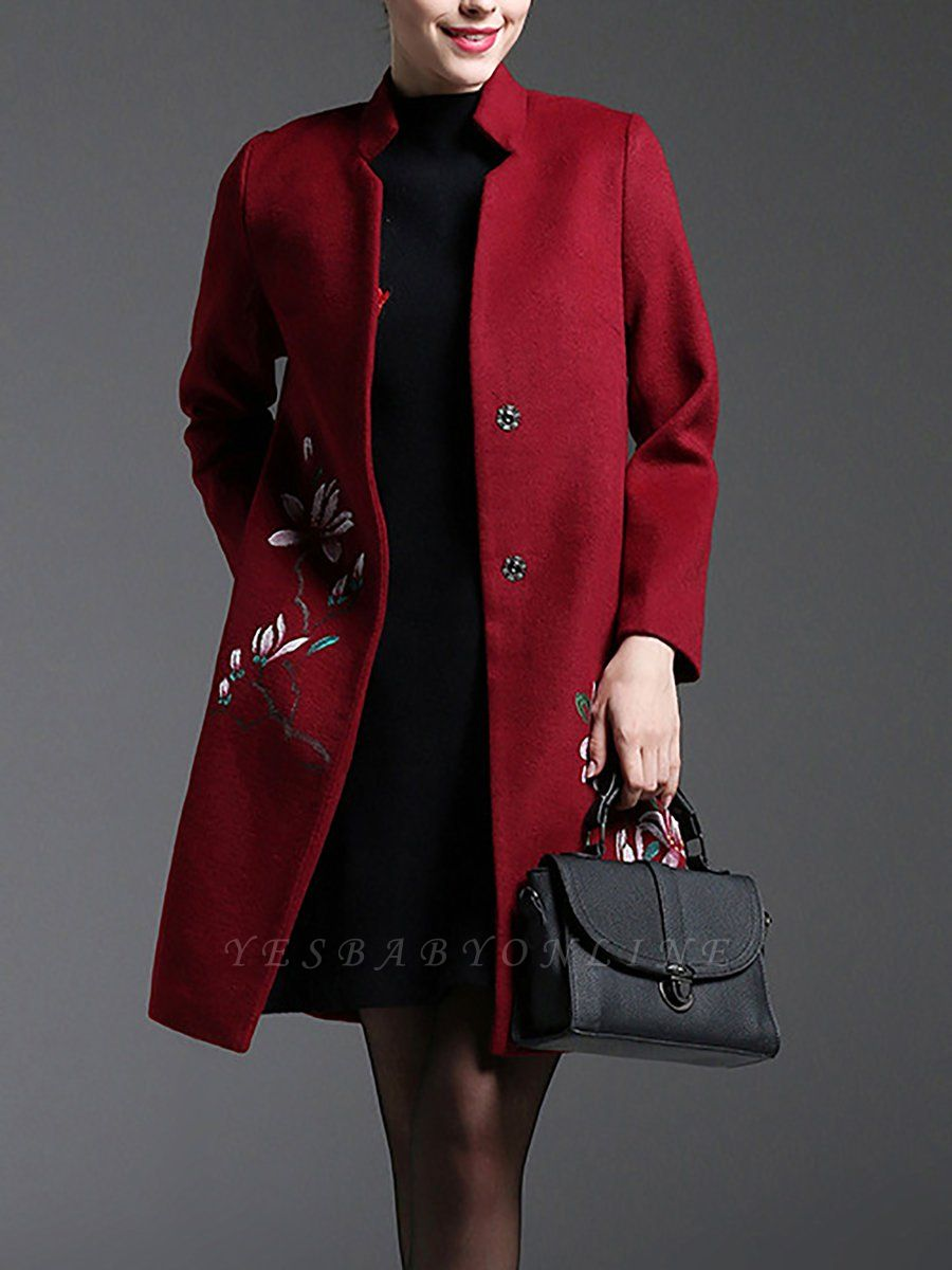 Red Floral-embroidered Pockets Buttoned Coat