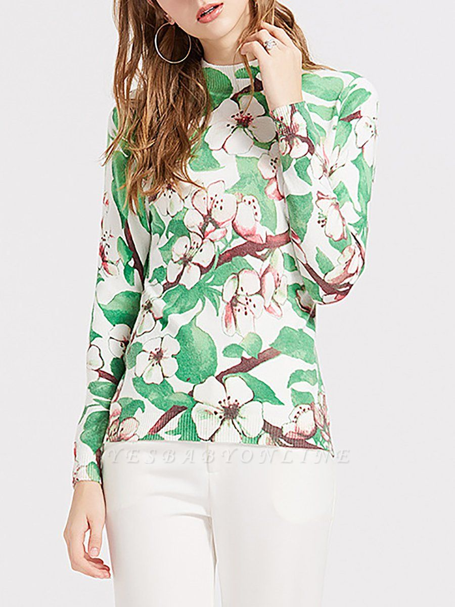 Green Crew Neck Shift Long Sleeve Floral Sweater